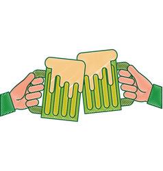 hands holding green beer mug foam vector image
