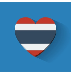 Heart-shaped icon with flag of Thailand vector image