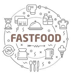 line flat circle fastfood vector image vector image