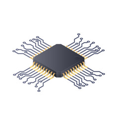 micro processor circuit board isolated on white vector image