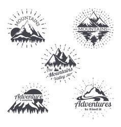 Mountain sketch logo set in retro style vector image