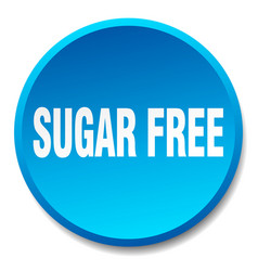 Sugar free blue round flat isolated push button vector