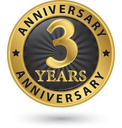 3 years anniversary gold label vector image vector image