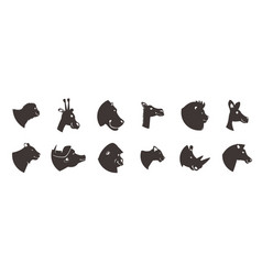 animal heads silhouette set vector image vector image
