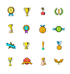 award icons set cartoon vector image