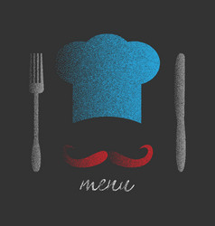 chef hat with big mustache vector image vector image