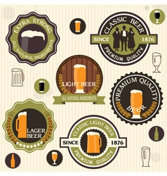 Collection of beer badges and labels in vintage vector image