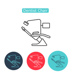 dental chair icon thin line for web and mobile vector image vector image