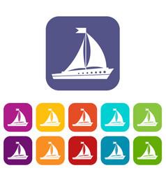 sailing ship icons set vector image vector image