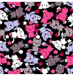 Seamless pattern with cute kawaii doodle cats vector image