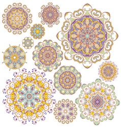 Set of twelve colorful ornaments vector image vector image