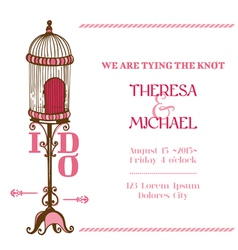 Wedding Vintage Invitation Card - Bird Cage Theme vector image vector image