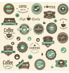 Collection of coffee labels and elements vector image