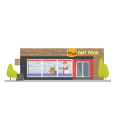 facade of fast food store resataurant template vector image