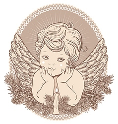 little angel with wings a candle vector image vector image