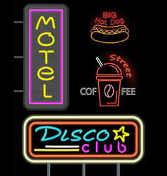 motel and disco club set neon vector image