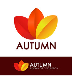 style logo with autumn leaves vector image
