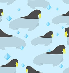 Walrus in water seamless pattern large natatorial vector