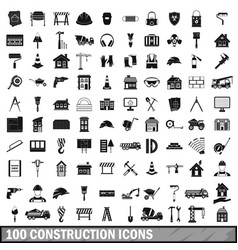 100 construction icons set in simple style vector