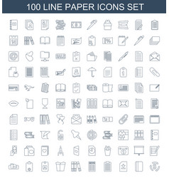 100 paper icons vector image