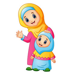 a muslim women hold her daughter head and waving h vector image