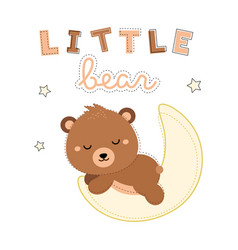 Adorable little bear sleeping on the moon vector