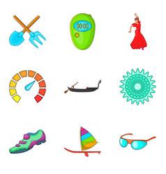 Adrenalin icons set cartoon style vector