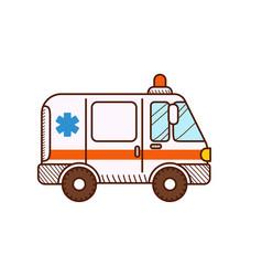 Ambulance car isolated on white emergency vehicle vector