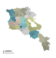 Armenia higt detailed map with subdivisions vector