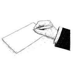 artistic drawing of hand of businessman writing vector image