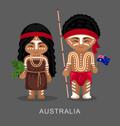 Australian aborigines in national dress with a vector