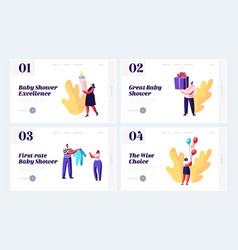 Bashower event website landing page set vector