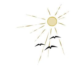 birds flying to sun vector image