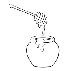 black and white of cartoon pot of honey with vector image