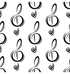 Black treble clefs seamless pattern vector image