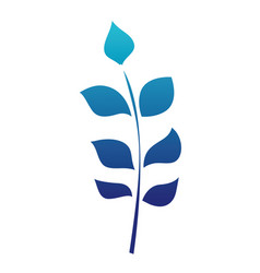 Blue silhouette nature branches with exotic leaves vector