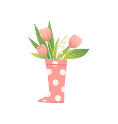 bouquet of pink tulips in pink rubber boot hello vector image