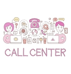 Call Center Work Elements Creative Sketch vector