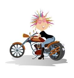 Cartoon biker woman vector