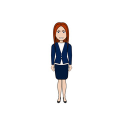 cartoon business woman standing isolated on white vector image