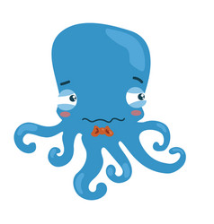 cartoon octopus a little sad octopus vector image