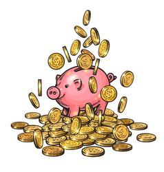 cartoon piggy bank among falling coins on big pile vector image