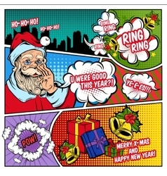 Christmas greetings comic book page vector