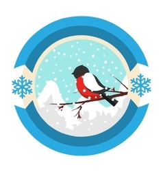 Christmas winter and new year label icon vector