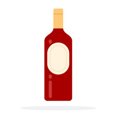 Closed bottle red wine with emblem flat vector