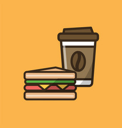 Coffee drink cup with cap and sandwich vector