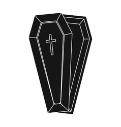 Coffin icon in black style isolated on white vector image