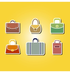 color icons with bags vector image