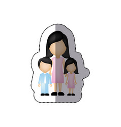 color woman her children icon vector image