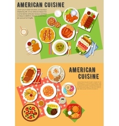 Colorful flat icon of american barbecue dinner vector image